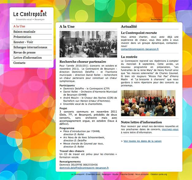 Page d'accueil du site internet du choeur Le Contrepoint