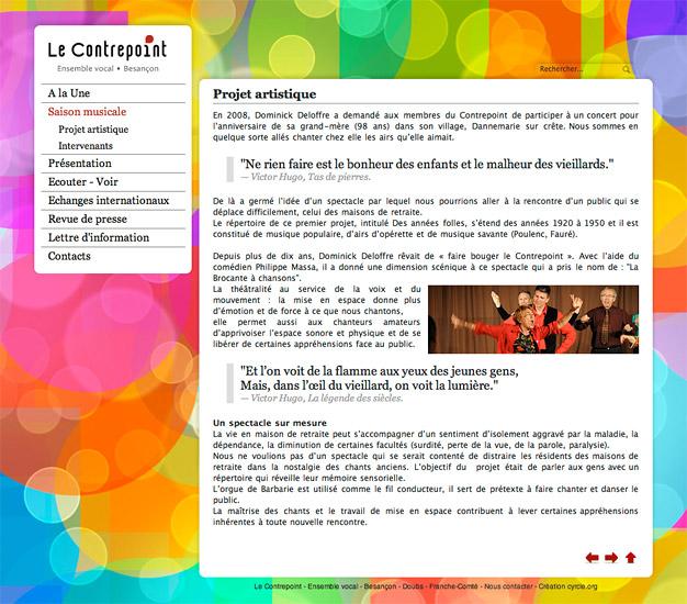 Page intérieure du site internet du choeur Le Contrepoint