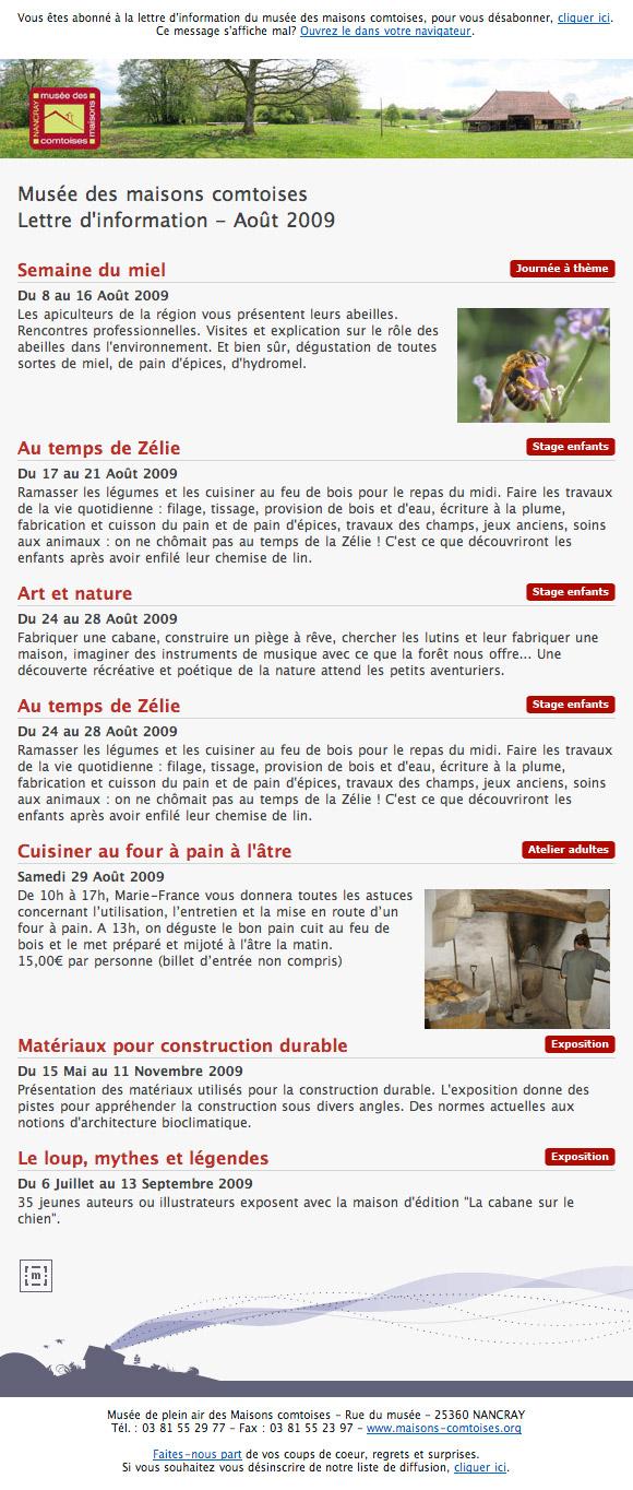 Lettre d'information du musée des maisons comtoises
