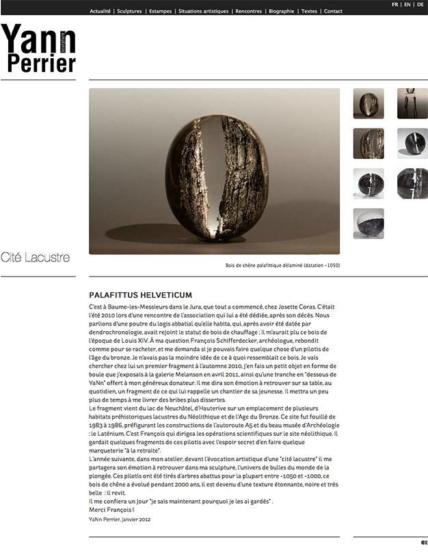 """Création du site internet du sculpteur Yann Perrier - Collection """"Cité lacustre"""""""