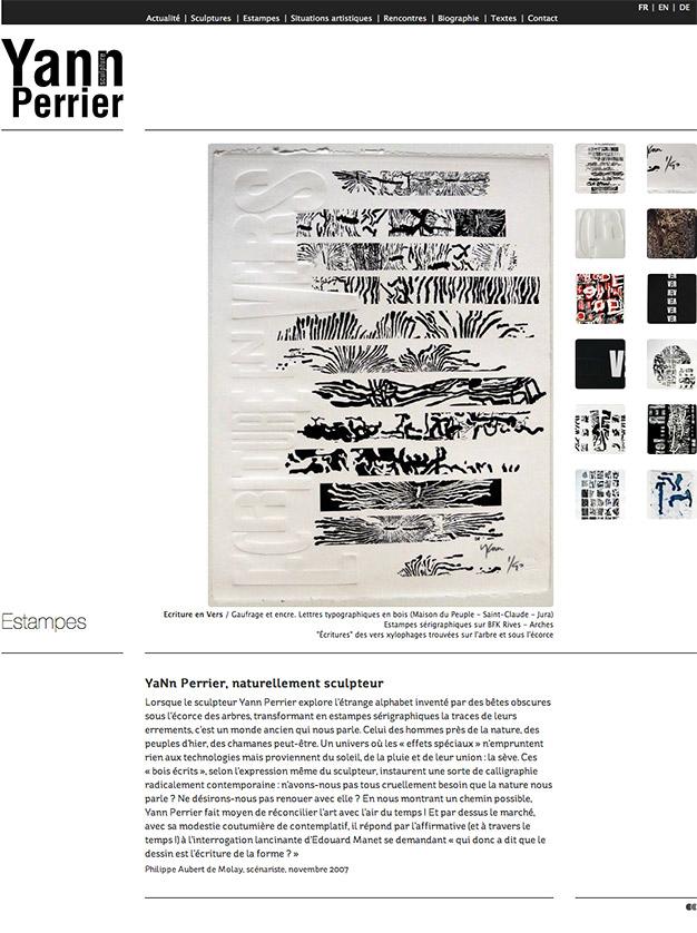 Création du site internet du sculpteur Yann Perrier - Les estampes