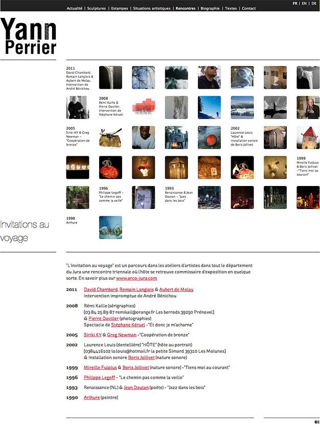 Création du site internet du sculpteur Yann Perrier - Rencontres artistiques