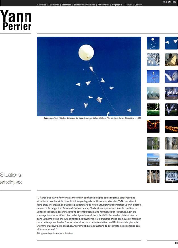Création du site internet du sculpteur Yann Perrier - Situations artistiques